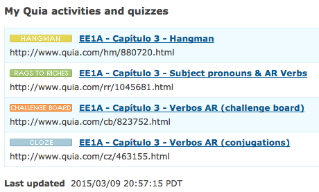 Extra practice seora hewitts spanish class log in to estudio and then go to quia web be sure to click on the class web page to see the current activities it should look like below platinumwayz